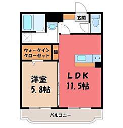 JR東北本線 宇都宮駅 バス15分 工学部前下車 徒歩5分の賃貸マンション 2階1LDKの間取り