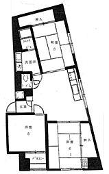 ブリリアンス五反田 9階3DKの間取り