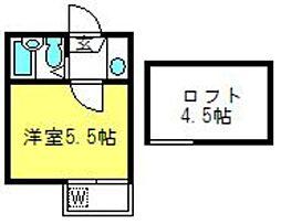 埼玉県さいたま市中央区下落合4の賃貸アパートの間取り