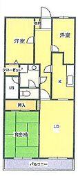 ベルメゾン鶴ヶ島[3階]の間取り