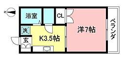 カームハイツ恋ヶ窪II 2階1Kの間取り