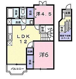 ニューコーポ小松 B[2階]の間取り