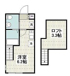 ハーミットクラブハウス戸塚IV(仮) 2階ワンルームの間取り