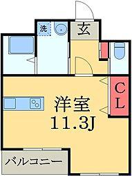 JR総武本線 佐倉駅 徒歩3分の賃貸アパート 1階ワンルームの間取り