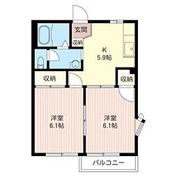 東京都八王子市滝山町1丁目の賃貸アパートの間取り