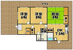 [一戸建] 兵庫県川西市花屋敷1丁目 の賃貸【兵庫県 / 川西市】の間取り