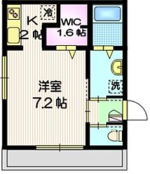 東急目黒線 武蔵小山駅 徒歩13分の賃貸マンション 2階1Kの間取り