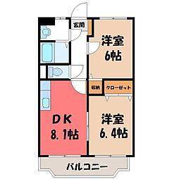 栃木県栃木市片柳町1丁目の賃貸マンションの間取り