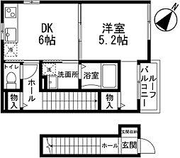 JR東北新幹線 大宮駅 徒歩20分の賃貸アパート 2階1DKの間取り