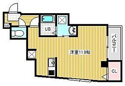 ブライトフューチャー東大島 4階ワンルームの間取り