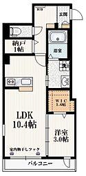 小田急小田原線 経堂駅 徒歩9分の賃貸マンション 2階1SLDKの間取り