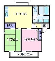 大阪府羽曳野市島泉8の賃貸アパートの間取り