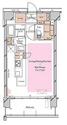 京急空港線 糀谷駅 徒歩4分の賃貸マンション 3階ワンルームの間取り