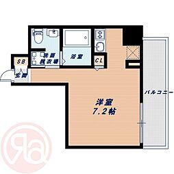 Osaka Metro長堀鶴見緑地線 西長堀駅 徒歩4分の賃貸マンション 5階ワンルームの間取り