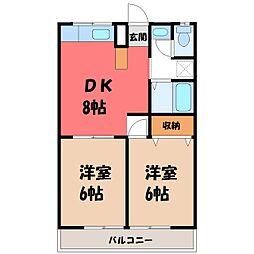 栃木県真岡市荒町の賃貸マンションの間取り