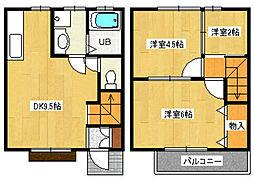 JR五日市線 秋川駅 徒歩15分の賃貸テラスハウス 1階2SDKの間取り