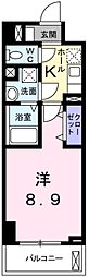 サクラスクエア竹の塚 7階1Kの間取り