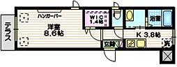 京急本線 北品川駅 徒歩3分の賃貸マンション 1階1Kの間取り