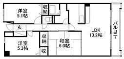 ツインオークス[5階]の間取り