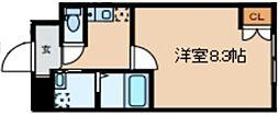 Glanlink Komazawa 2階1Kの間取り