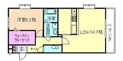 大阪府豊中市本町8丁目の賃貸アパートの間取り