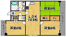 おおさか東線 JR淡路駅 徒歩11分の賃貸マンション 6階3LDKの間取り