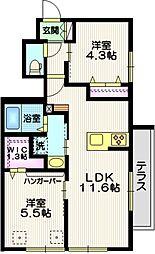 仮称 平戸町メゾンA棟 1階2LDKの間取り