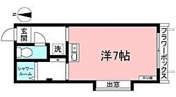 東急東横線 都立大学駅 徒歩10分の賃貸マンション 2階ワンルームの間取り