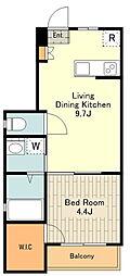 JR中央線 高尾駅 徒歩8分の賃貸アパート 1階1LDKの間取り