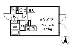 ALERO白山II 3階ワンルームの間取り
