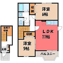 栃木県小山市大字平和の賃貸アパートの間取り
