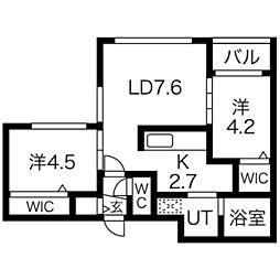 Lunon Sapporo Sta. 3階2LDKの間取り