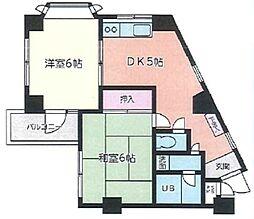 ビック武蔵野清瀬 5階2DKの間取り