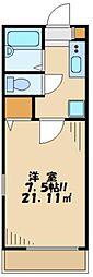 東京都多摩市一ノ宮3丁目の賃貸アパートの間取り