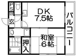 コーポ西森香里園[3階]の間取り
