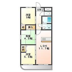 愛知県岡崎市六名東町の賃貸マンションの間取り