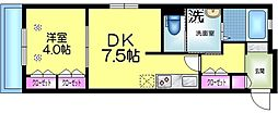 ヘーベルメゾン墨田2丁目 1階1DKの間取り