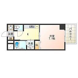 Osaka Metro中央線 阿波座駅 徒歩9分の賃貸マンション 5階1Kの間取り