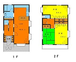 西武新宿線 野方駅 徒歩8分の賃貸一戸建て 3LDKの間取り