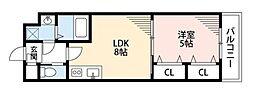 LUCRAS 2階1LDKの間取り