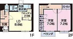 愛知県西尾市寺津町の賃貸アパートの間取り