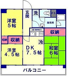 山八マンションA棟[3階]の間取り