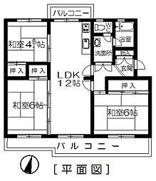 花鶴丘団地 4[504号室]の間取り