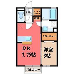 ルーヴル 2階1DKの間取り
