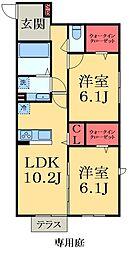 JR外房線 太東駅 徒歩1分の賃貸アパート 1階2LDKの間取り