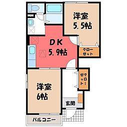 栃木県栃木市仲方町の賃貸アパートの間取り