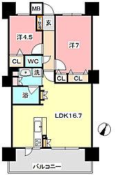 ポレスター中庄リーモ[6階]の間取り