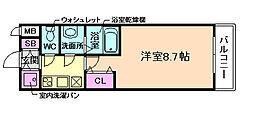 J.T.大阪west 8階1Kの間取り