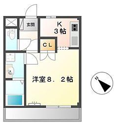 愛知県豊橋市つつじが丘1丁目の賃貸アパートの間取り