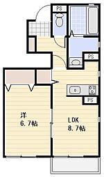 埼玉高速鉄道 鳩ヶ谷駅 徒歩21分の賃貸アパート 1階1LDKの間取り